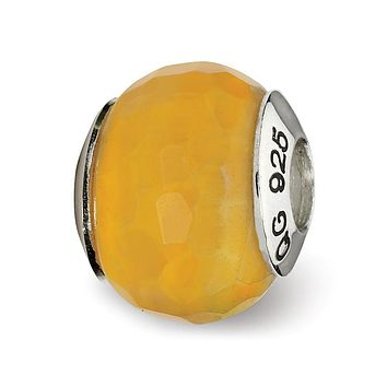 Yellow Cracked Agate w/Shell Stone Bead & Sterling Silver Charm, 13mm