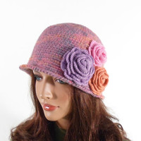 Crochet Cloche Hat with 3 Crochet Flowers - Pink and Lilac
