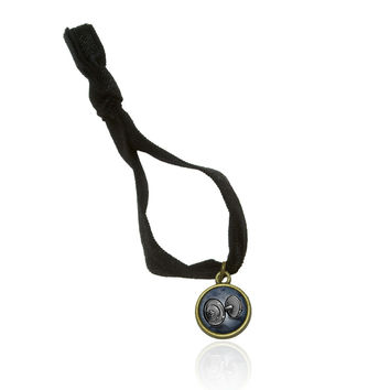 Weight Lifting Dumbbells Stretchy Elastic Hair Tie w- Brass Charm