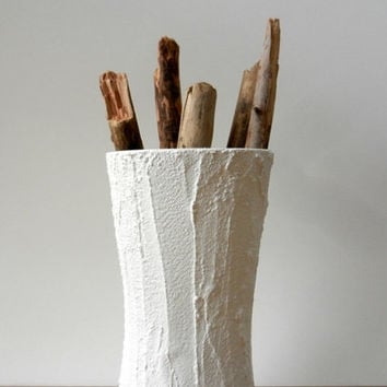 White Vase Modern Country Cottage / handcrafted vase / white decor / Carriage Oak Cottage
