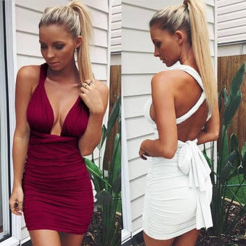 Solid Color Fashion Sleeveless Deep V Bandage Tight Ruffle Mini Dress