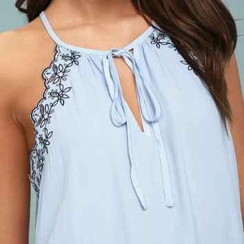 Neighborly Light Blue Embroidered Sleeveless Top