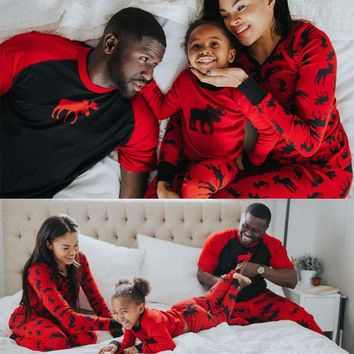 Family Christmas Red Elk Matching Pajama Set