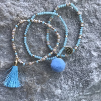 Glass Bead Pom Pom and Tassel Bracelet Set- Mint