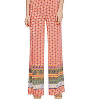 GB Border-Print Palazzo Pants - Multi