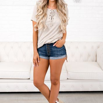 Leave This Town Ribbed Top (Oatmeal)