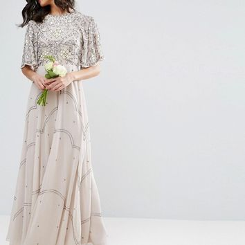 ASOS WEDDING Embellished Floral Flutter Sleeve Maxi Dress at asos.com