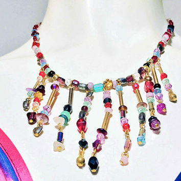 Vintage Rainbow Beaded Bib Necklace / Unique Multicolored Choker / Boho Beaded Fringe Necklace / Gold Tone with Assorted Beads and Gemstones
