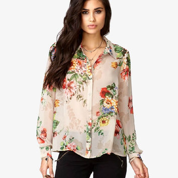 Cream Floral Print Long-Sleeve Collar Chiffon Blouse
