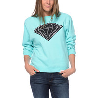 Diamond Supply Girls Big Brilliant Mint Crew Neck Sweatshirt