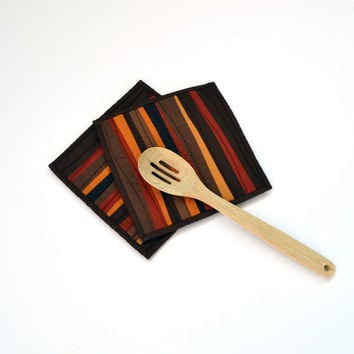 Fall Pot Holders, Brown Pot Holders, Modern Kitchen Decor, Quilted Hot Pads, Hostess Gift, Brown Kitchen Accessories