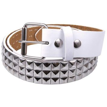 PEAPGQ9 Studded White Leather Belt