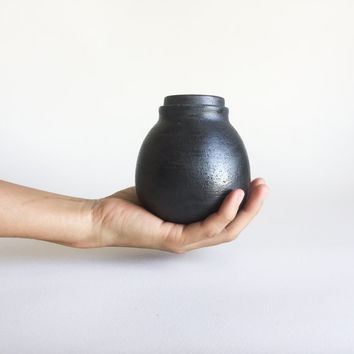 SMALL BLACK BOTTLE, ceramic, ceramics, pottery, handmade, lidded, jar, treasure box