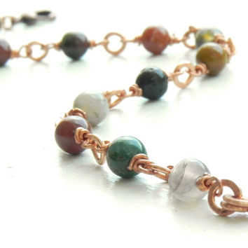 Wire Wrapped Fancy Jasper Stone Bracelet // Bohemian Tribal Wire Wrapped Copper Bracelet // Boho Jewelry
