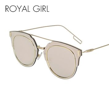 ROYAL GIRL Fashion Sunglasses Women Brand Designer Round Mirrored Double-Bridge Frame Sun Glasses ss368