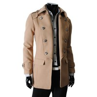 TheLees Mens double breasted 2 way wool jacket