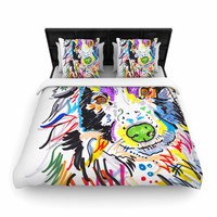 "Rebecca Fisher ""Buzz"" Multicolor Dog Woven Duvet Cover"