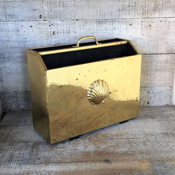 Magazine Rack Hammered Brass Magazine Holder Mid Century Seashell Filing Cabinet Vintage Brass Record Holder Album Holder Danish Modern