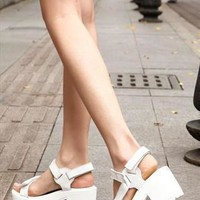 White Mid Heel Sandals  from sniksa