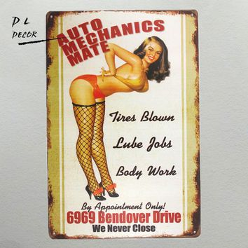 Vintage Auto Mechanics Pin-Up Metal Sign Decor