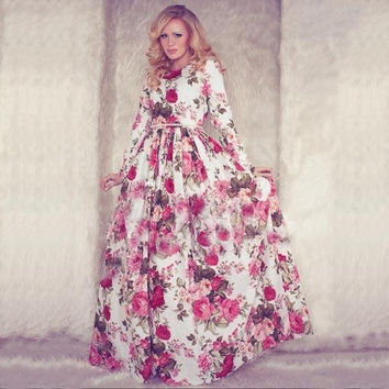New Autumn Women Maxi Dress Long Sleeve O-neck Red Vintage Flower Print Party Summer Long Dress Casual vestido longo Large size
