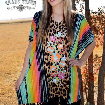 The Selena Serape top from Crazy Train one size and Plus One Size