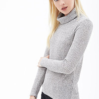 FOREVER 21 Heathered Turtleneck Sweater Grey/Taupe