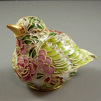Cloisonne Enameled Bird Quail Partridge Figurine // Paperweight // from UBlinkItsGone