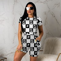FILA Newest Hot Sale Woman Fashion Print Short Sleeve Top Shorts Set Two Piece Sportswear