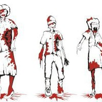 Zombie Family Decal Sticker, Red/black Bloody Family Exterior Zombie Firefighter Window Sticker
