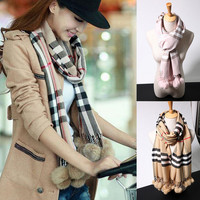 New Women Scarf Fashion Brand Rabbit hair ball cashmere Plaid Cotton Winter Scarf ladys Luxury Thick Scarves for Women