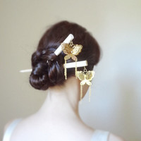 Enchanted magic- Bridal luxury brass butterfly geisha hair sticks