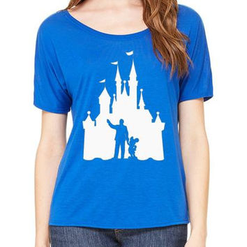 Disney Shirts Ladies Slouchy Tee Walt and Mickey Partners Castle Disneyland Shirt Disney World Shirt Magic Kingdom Shirt Disney Cruise Shirt