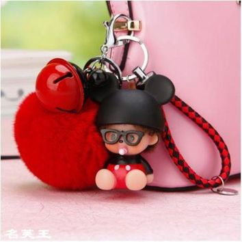 ESBIJ6 2017 new cartoon bunny mouse Dolls real Fur Pom Pom pompom ball Ladybug Keychain Key Chain ring Lady Bag car Pendant Porte Clef