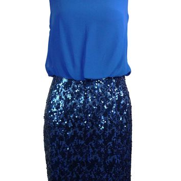 Aqua Women's Sequined Cutout Chiffon Blouson Dress