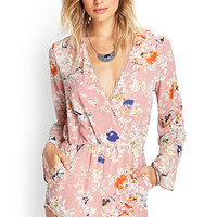 FOREVER 21 Retro Floral Surplice Romper Dusty Pink/Multi