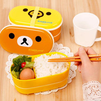 2 Layer Cartoon Rilakkuma Lunchbox Bento Lunch Box Food Container With Chopsticks Japanese Style Plastic Lunch box