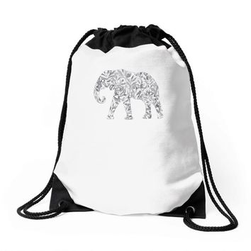 elephant filled pattern cool Drawstring Bags