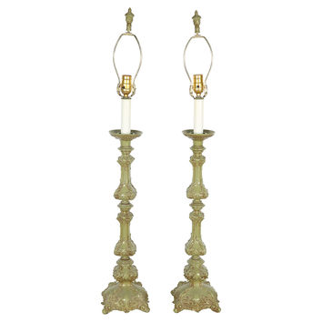 Green French Candlestick Lamps, Pair