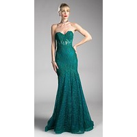 Lace Strapless Mermaid Long Formal Dress Emerald Green