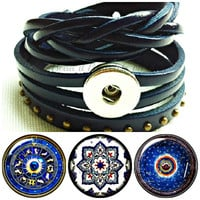 3 in one leather wrap snap bracelet with 3 x 20 mm. Will fit  Noosa  or Gingersnap style chunk charms
