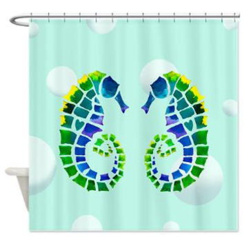 Two Seahorses in Love  Shower Curtain  -  Watercolor Art,  Surf, beach, surfer, blue, teen decor, bathroom