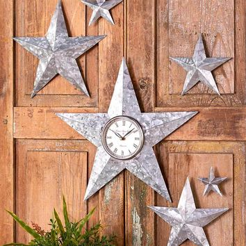 Galvanized Country Star Wall Decor or Clock Metal Rustic Farmhouse Home Decor