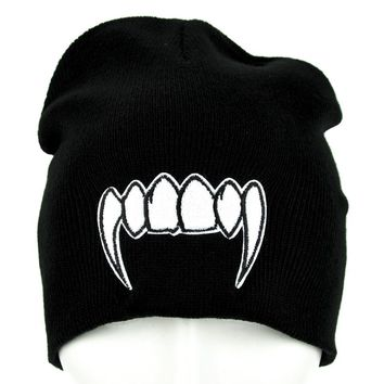 Vampire Fangs Beanie Monster Teeth Knit Cap