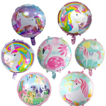 10pcs/lot 18inch Happy Birthday Party Decoration Little Horse Foil Unicorn Pony Balloons Wedding/Halloween/Christmas Decoration