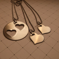 double heart stainless steel with two small hearts.. initials can be added hand stamped necklaces mother and daughter.. wedding