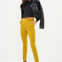 Missguided - Yellow Highwaist Skinny Pants