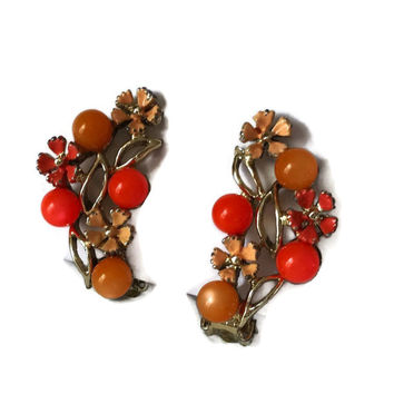 Vintage Clip Earring Orange and Peach Pearls and Enamel Flowers with Rhinestones Autumn Accessory