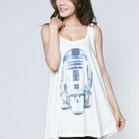 R2-D2 T Shirt Dress R2D2 Star Wars Robot Android Space Tank Top Women T-Shirt Sleeveless White Mini Dresses Shirts Size M L