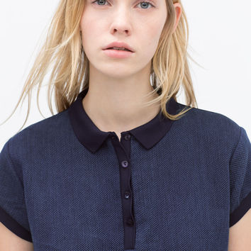 GEORGETTE BACK INDIGO POLO SHIRT